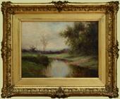 """Blackmore, A.E. (1854-1921) """"Summer Landscape with Stream"""""""