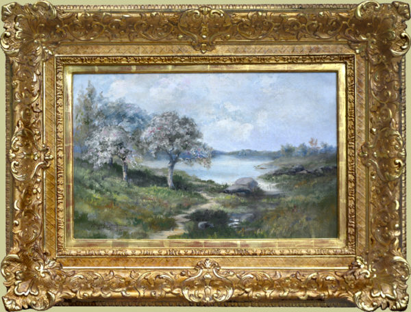 "Blackmore, A.E. <br> (1854-1921) <br>""Spring Landscape with Pond"""
