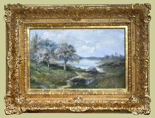 "Blackmore, A.E. (1854-1921) ""Spring Landscape with Pond"""
