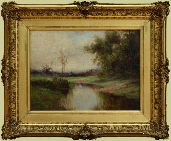 """Blackmore, A.E. <br> (1854-1921) <br>""""Summer Landscape with Stream"""""""