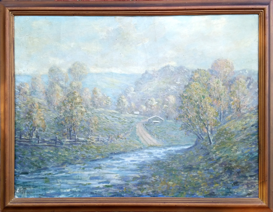 "Eyden, Jr., William Arnold<br> (1893-1982) <br>""Indiana Landscape <br>with Barn and Stream"""