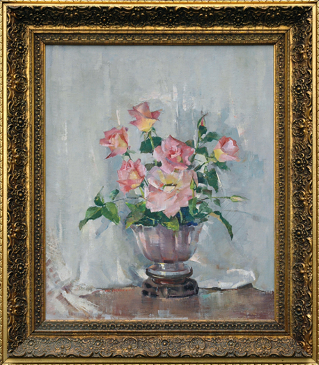 "Greacen, N.A., Nan <br>(1909-1999)<br> ""Still Life with Pink Roses"""