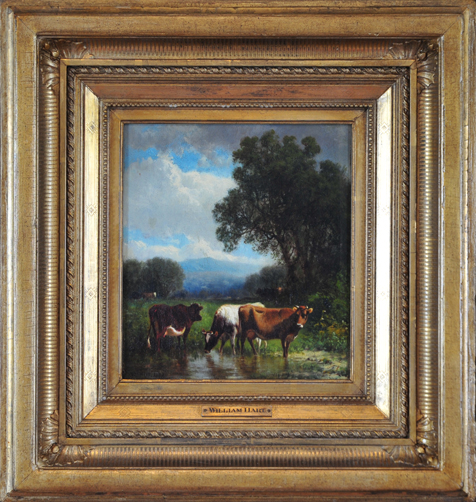"Hart, N.A., William <br>(1823-1894)<br> ""Landscape with Cows"""