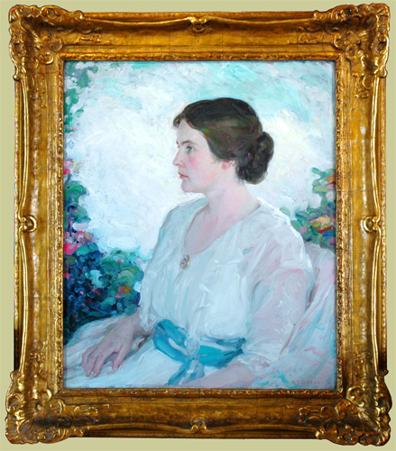 "Hubbell, A.N.A., Henry Salem <br> (1870-1949) <br>""Lady in the Garden"""