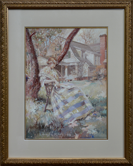"Kurtz, Wilbur <br>(1882-1976)<br> ""Lady Reading in the Garden"""