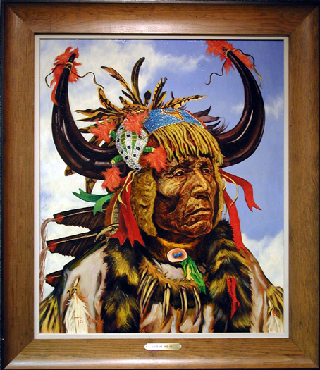 "Mails, Thomas <br>(1922-2001) <br>""Shot in the Eye-Oglala Sioux"""