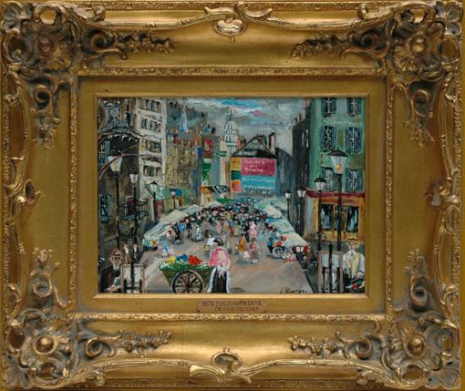 """Mercier, Dennis <br>(20th century)<br> """"1878 Rue Mouffetard"""""""