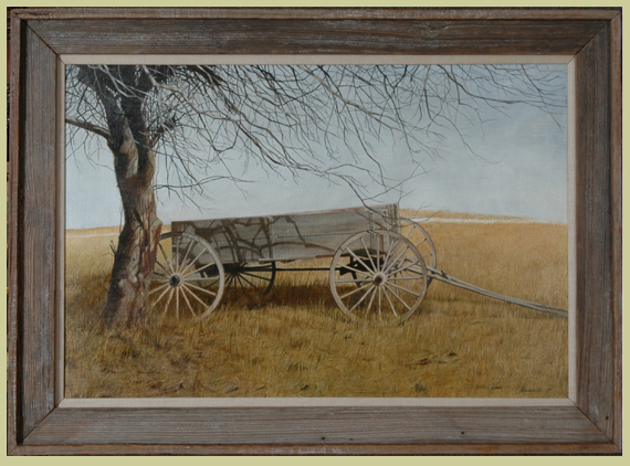 "Meredith, Robert <br> (born 1940) <br>""Farm Wagon in a Field"""