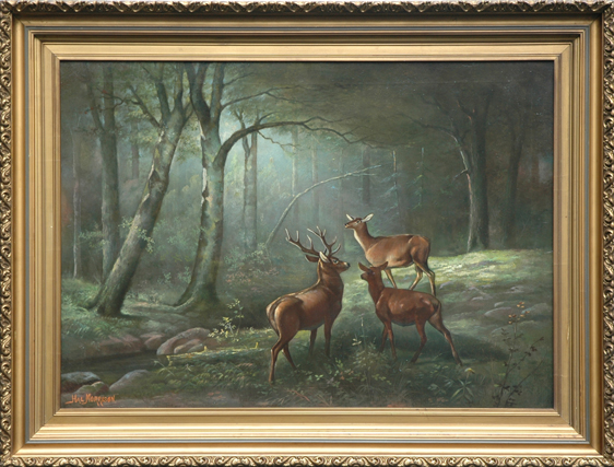"Morrison, Hal <br> (1848-1927) <br>""Wooded Landscape with Deer"""