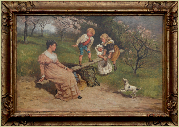 "Newell, Hugh <br> (1830-1915) <br>""Playing on a Teeter-totter"""