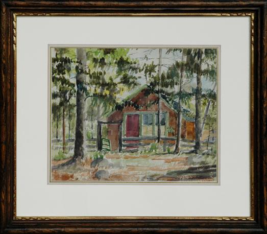 """Saussy, Hattie <br> (1890-1978)<br> """"Georgia Cabin Scene"""""""