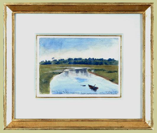 """Blumner, Oscar (1867-1938) """"Inlet with Boat"""""""