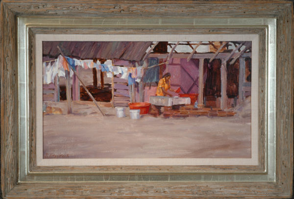 "Desatnick, Mike<br>(born 1943)<br>""Beach House Wash Day, Mexico"""