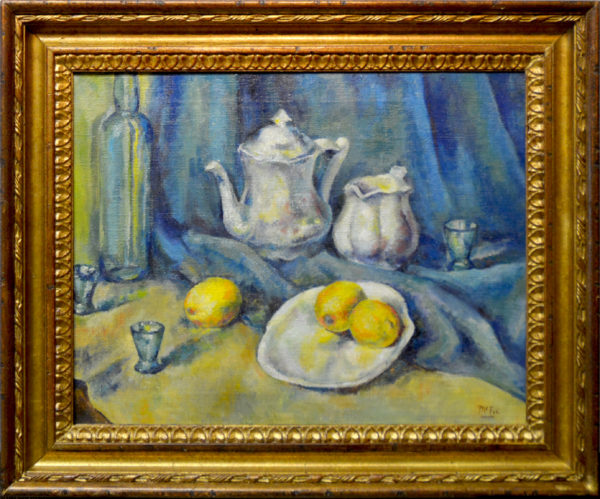 "Henry Lee McFee<br>(1886-1953)<br>""Still Life with Silver and Lemons"""