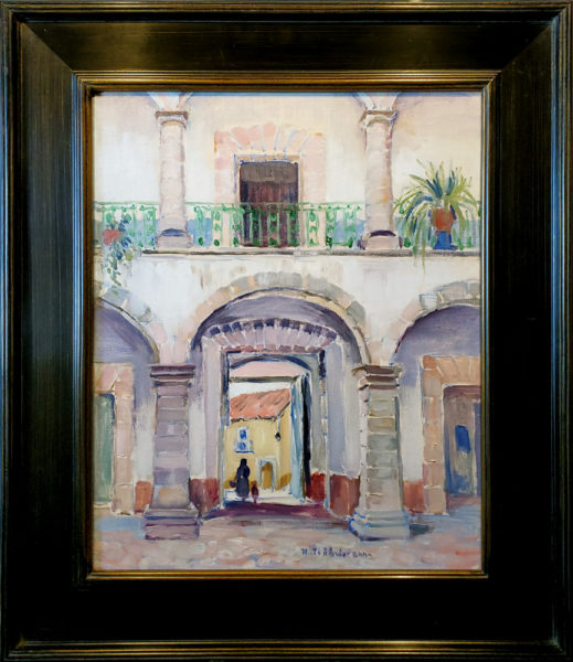 """Anderson, Ruth A.<br>(1891-1957)<br>""""Courtyard Scene"""""""