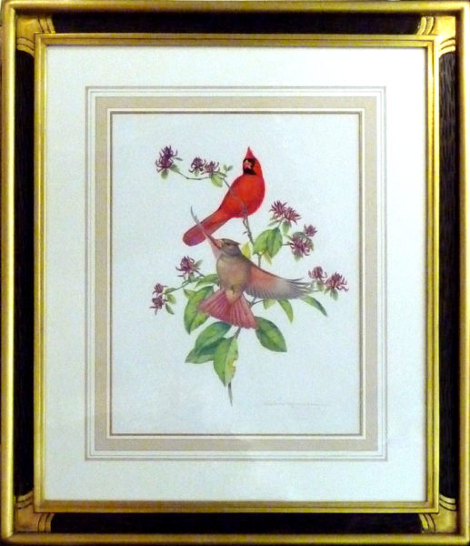 "Menaboni, Athos<br>(1895-1990)  <br> ""Cardinals on Sweet Shrub"""