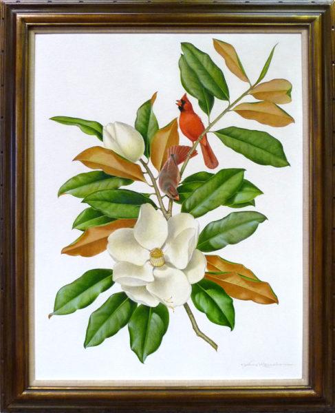"""Menaboni, Athos<br>(1895-1990)  <br>""""Cardinals on Magnolia"""""""
