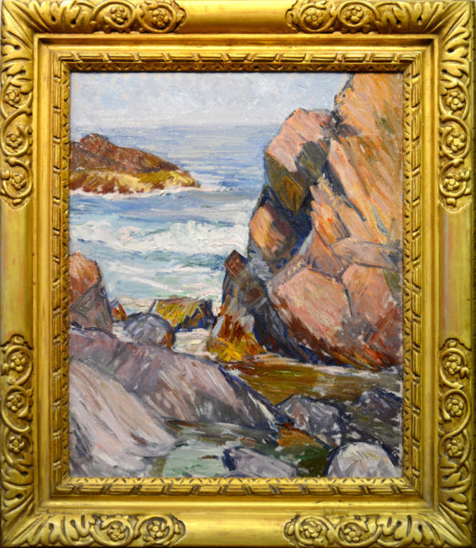 "Richmond, Agnes<br> (1870-1964)<br> ""Seascape with Rocks, Gloucester"""