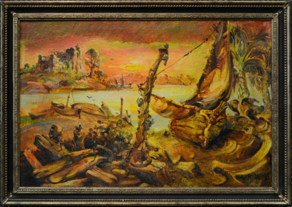 "Jacobs, Forrest<br>(20th century)<br>""Harbor Sunset"""