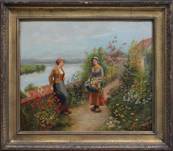 "Knight, Daniel Ridgway<br> (1839-1924)<br> ""Two Women in a Garden"""
