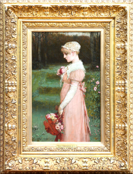 "Boughton, NA, RA, George Henry<br>(1833-1905)<br>""Young Girl with Roses"""