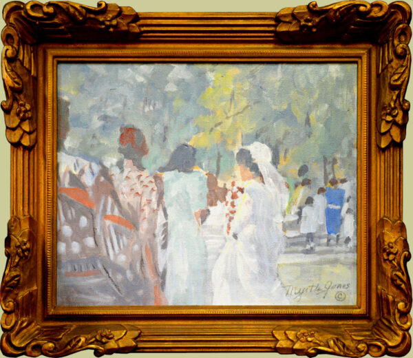 "Jones, Myrtle,<br>( 1913-2007)<br>""Wedding in Forsyth Park, Savannah, Georgia"""